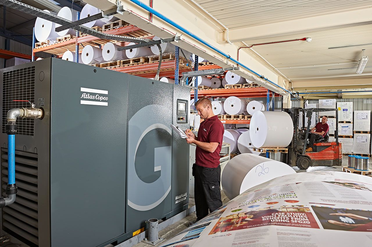 atlas copco compressor saves money and achieves sustainability targets for printer Buxton Press