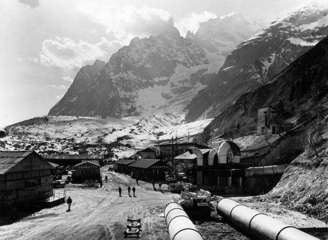 Vista de las obras en el túnel del Mont-Blanc. Lado italiano.